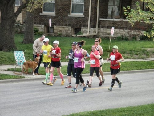 Tail-end Charlies.  Some of these folks were costumed as tin men, lions, witches etc.  These were the fun runners only  in for 3 and 6 k.