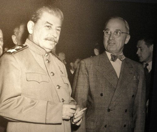 Harry Truman and Joe Stalin fought on the same side in WWII.  But both had to readjust their thinking rapidly, think on their feet as shown here, because five years later they were on opposite sides.