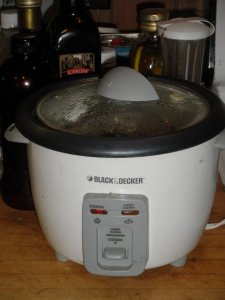 This rice/veggie steamer might be the single electrical appliance I've used more than any other my entire lifetime.  Originally cost me $1.00 still in the never-been-open-box at the Salvation Army Thrift Store, Kerrville, Texas.  Several years of heavy use for that buck.