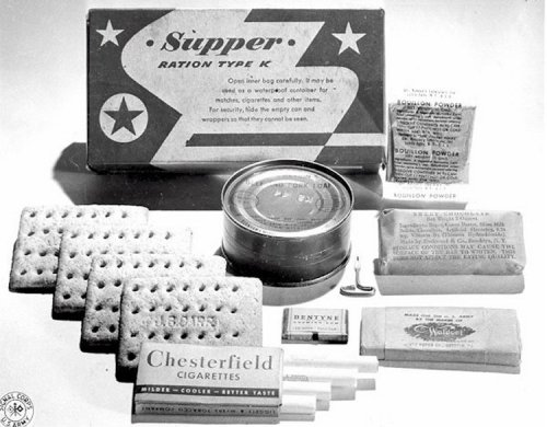 Supper Unit Canned meat product Biscuits Bouillon powder Candy Chewing gum Powdered coffee Granulated sugar Cigarettes Can opener Toilet paper Wooden spoon